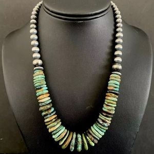 Jewelry - S.S.Graduated Green TurquoiseWNavajoPearlsNecklace